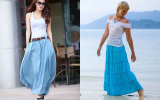 С чем носить голубые юбки
