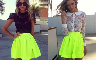 С чем носить салатовую юбку
