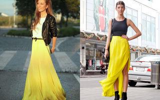 С чем носить желтые юбки