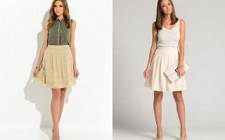 С чем носить бежевые юбки