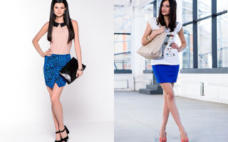 С чем носить синие юбки