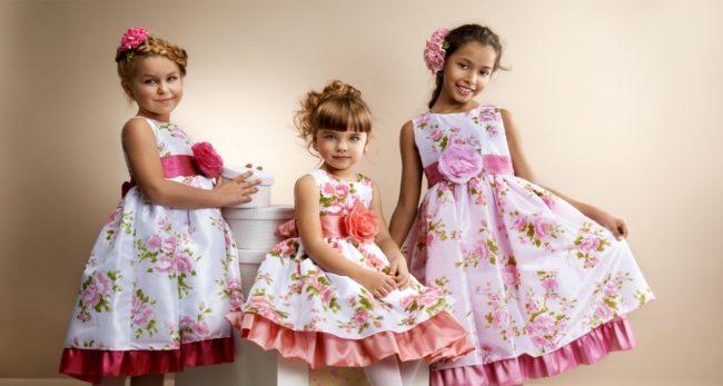 Пышный фасон платья для девочек разных возрастов