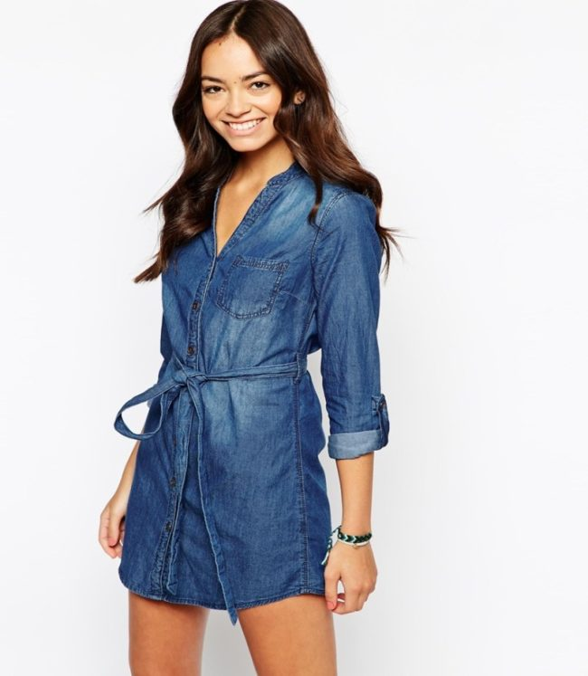 Модель платья-рубашки с пояском
