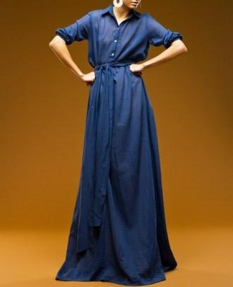 Джинсовое платье с воротничком стоечкой, поясом и рукавом три четверти