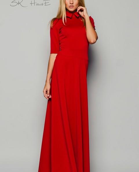 Платье в пол для вечерних мероприятий с воротничком и рукавом
