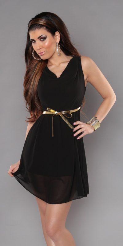 Чернее мини-платье из шифона
