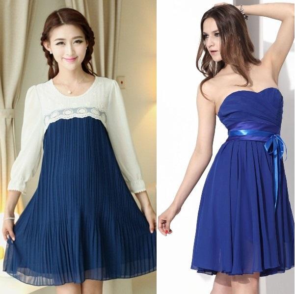 Модели синих шифоновых платьев