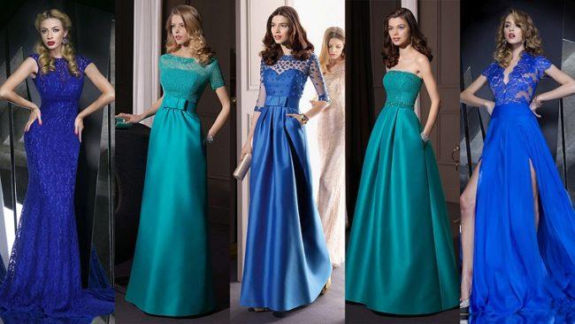 Платья оттенков синего цвета