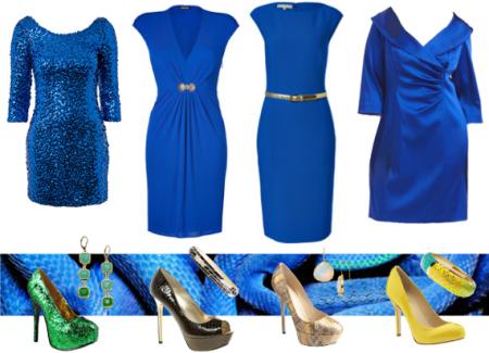 Синие наряды, обувь и аксессуары к ним