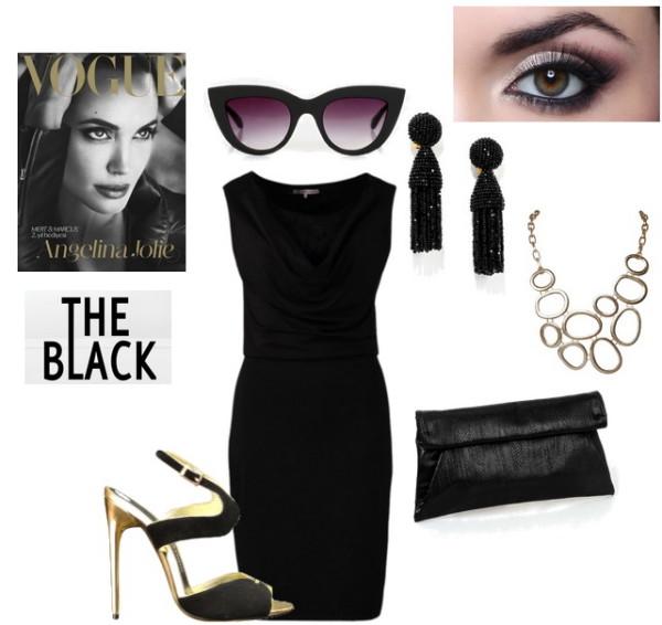 Макияж и аксессуары к черному мини-платью
