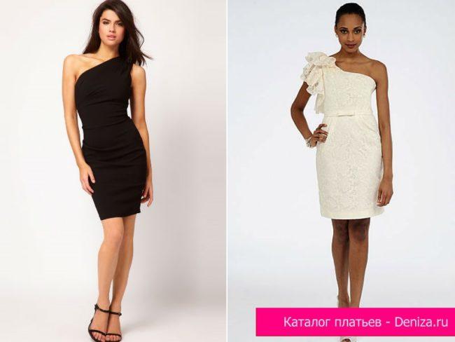 Четное и белое платья на одно плечо