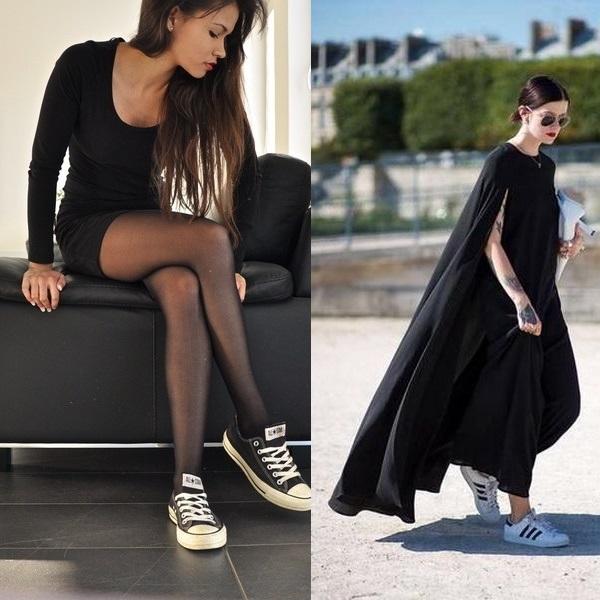 Спортивные кеды с коротким и длинным черными платьями