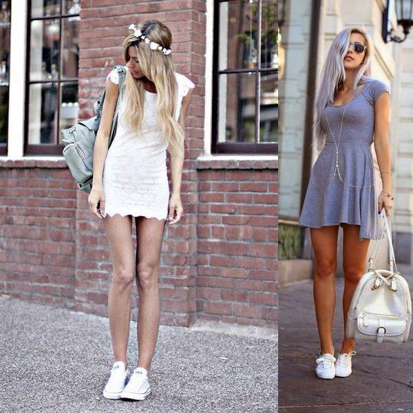 Мини-платья с белыми кедами
