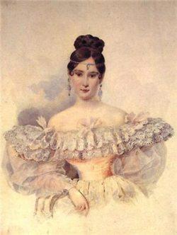 Платье в стиле, характерном для середины 19 века