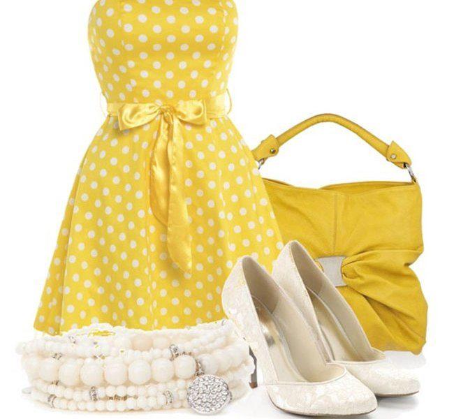 Желтое платье в горошек и аксессуары к нему