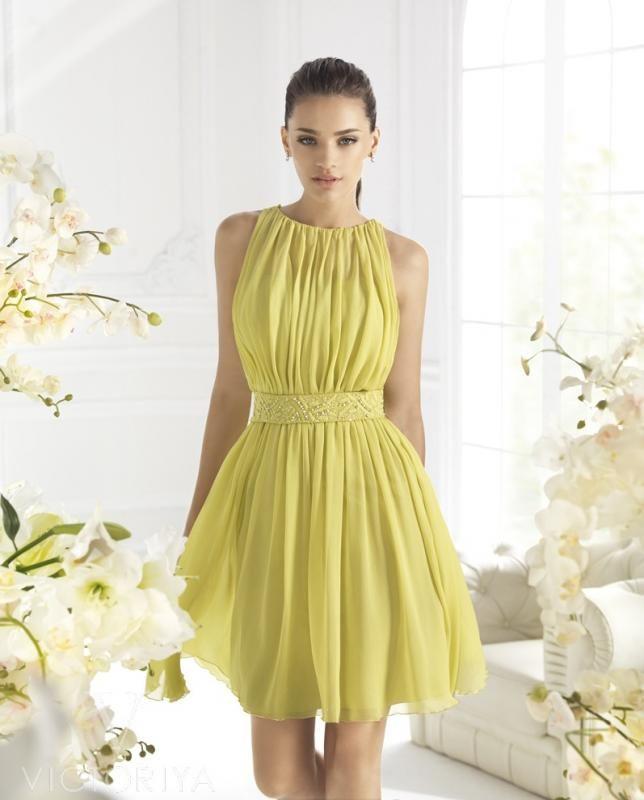 Выпускное платье солнечного оттенка