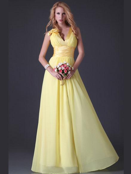 Выпускное платье желтого цвета