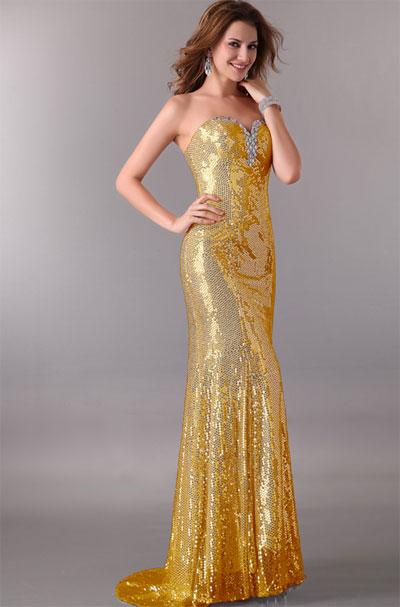 Золотое платье без бретелей