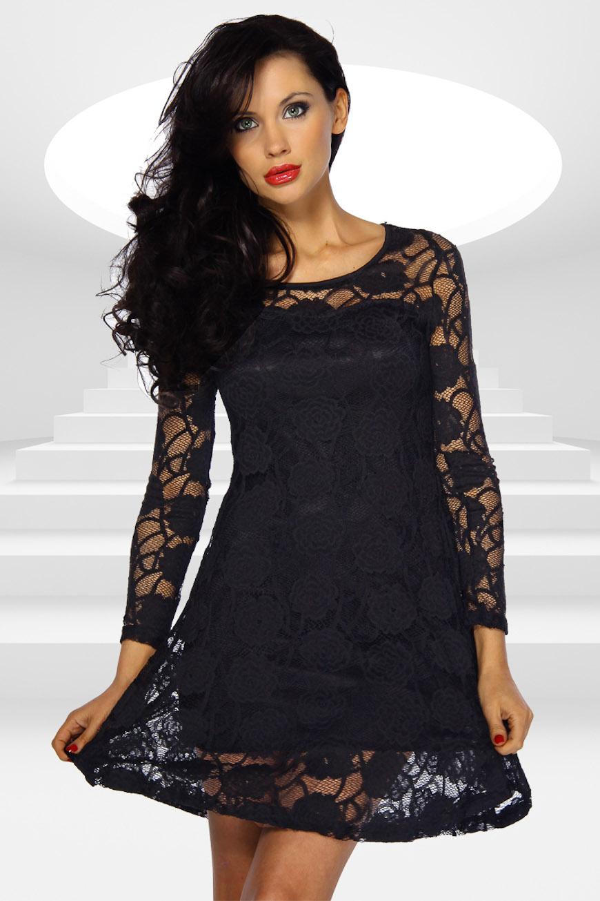 Черное кружевное платье 19 фотография