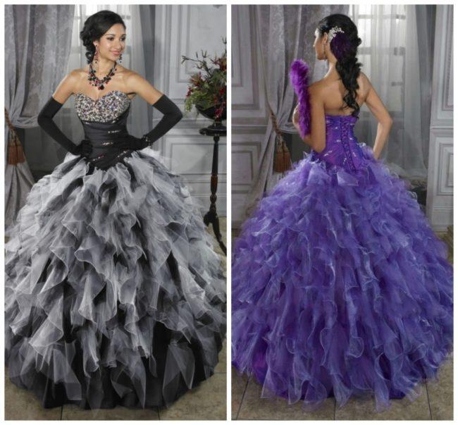 Черное и фиолетовое бальные платья