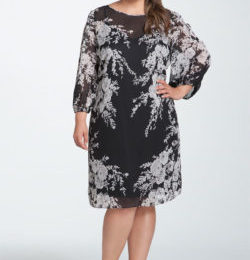 Черное платье с белыми цветами для полных