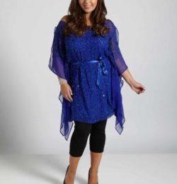 Платье-туника для полных синего цвета