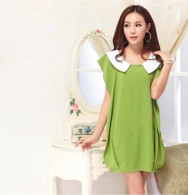 Зеленое платье прямое