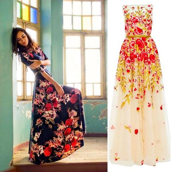Цветочное платье в пол