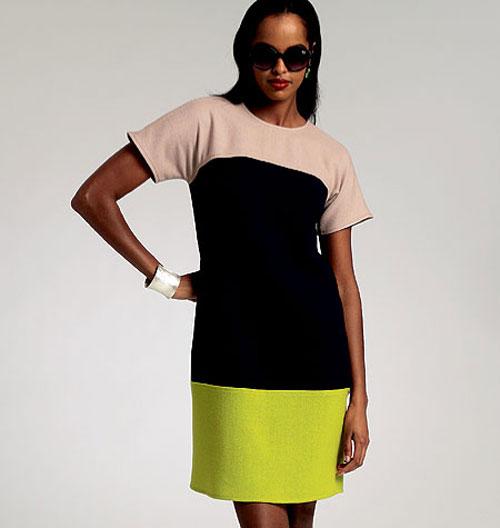 Разноцветное прямое платье