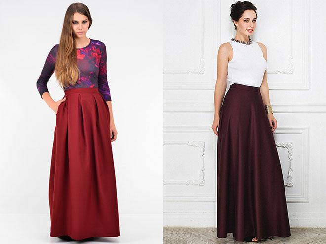 длинные бордовые юбки