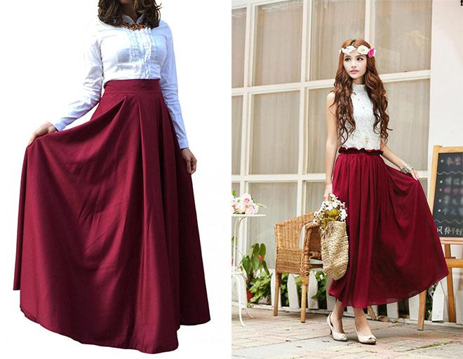 длинные бордовые юбки с белым верхом