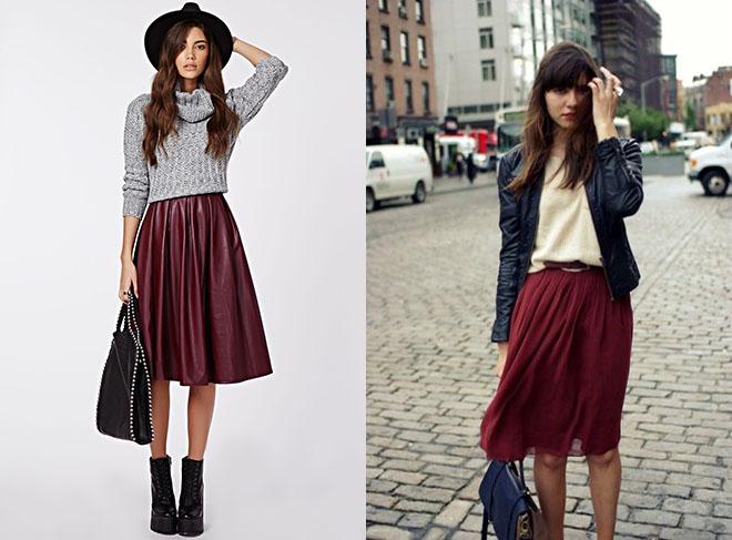 бордовые юбки миди для зимы