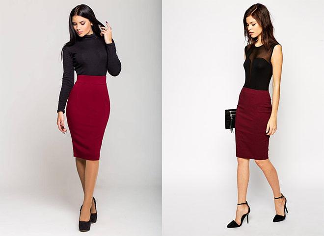 бордовая юбка карандаш с черным верхом