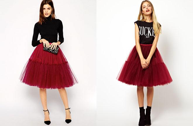 бордовая юбка пачка из фатина с черным верхом