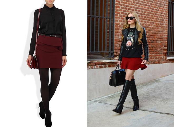 бордовые юбки