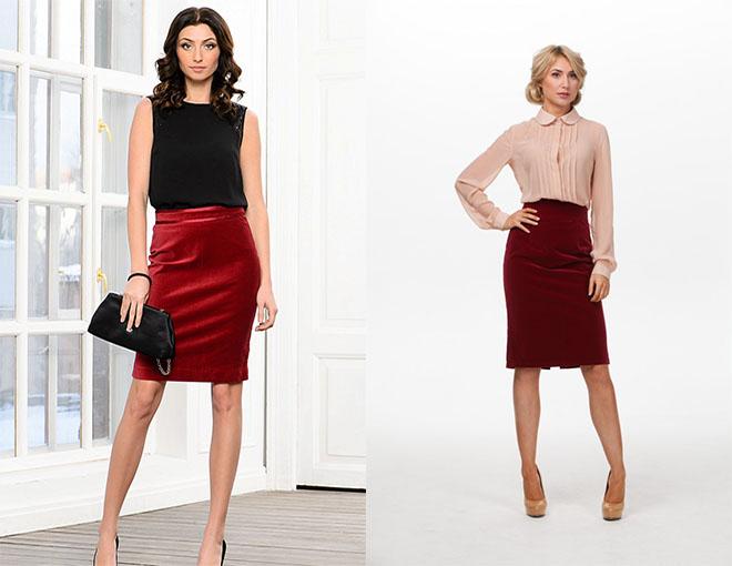 бордовые юбки офисные