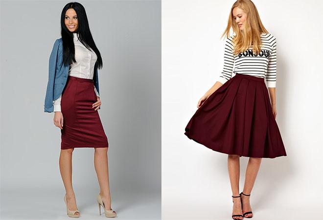бордовая юбка с джинсовой рубашкой