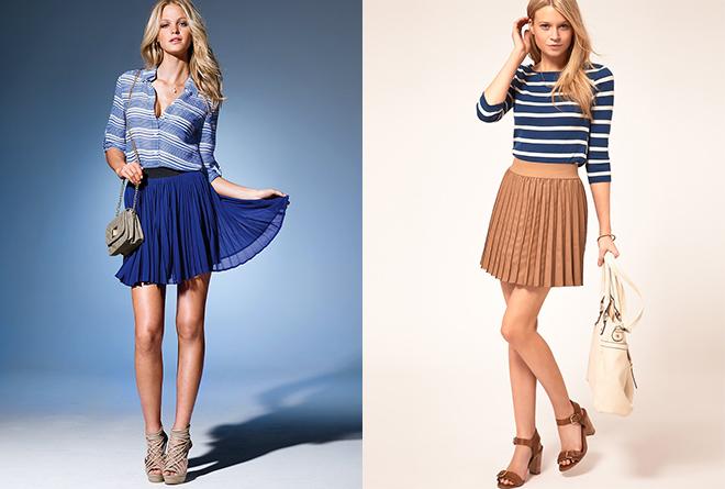 плиссированные короткие юбки
