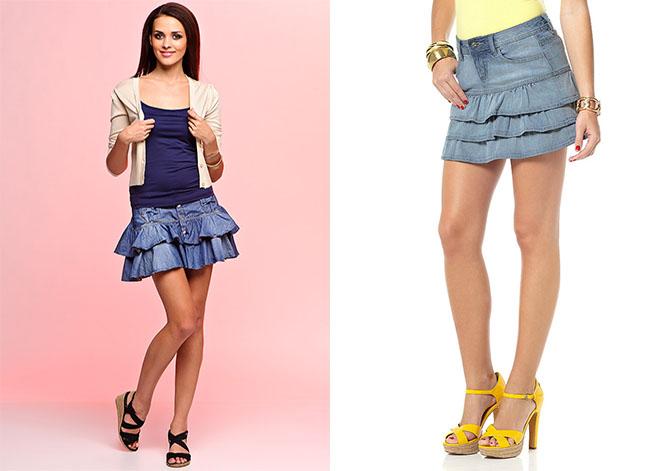 С чем носить джинсовую юбку волан