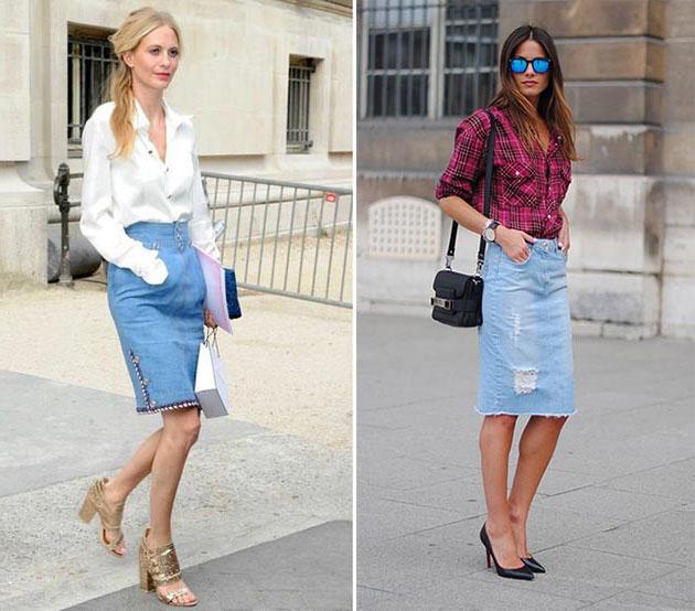 Джинсовая юбка-карандаш с чем носить  фотографии вариантов