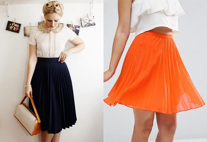 Плиссированная юбка от бедра до