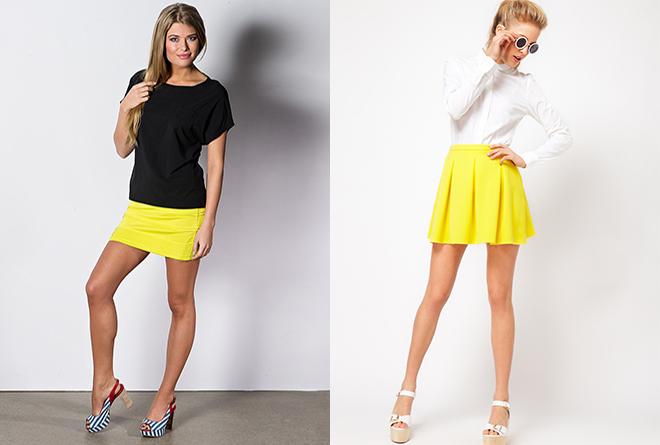 желтые короткие юбки