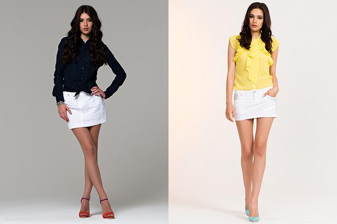 короткие белые юбки с блузкой