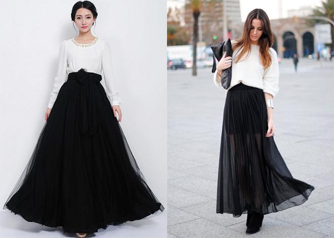 юбка длинная черная фото