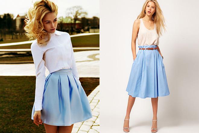a1bb6e0de400 Голубая юбка: с чем носить, миди, в пол, карандаш, образы с фото