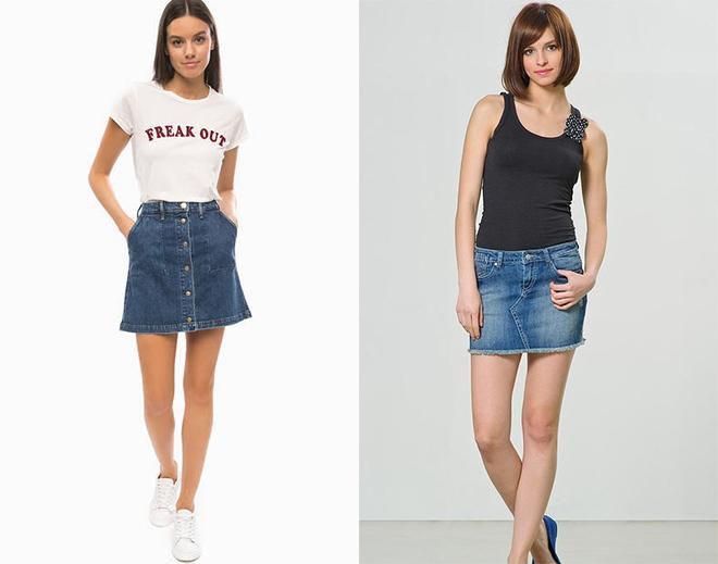 джинсовые короткие юбки с топом