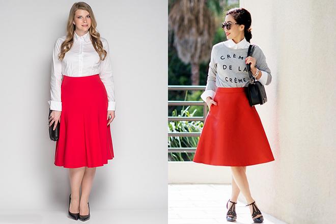 0144461a22e Красная юбка  с чем носить