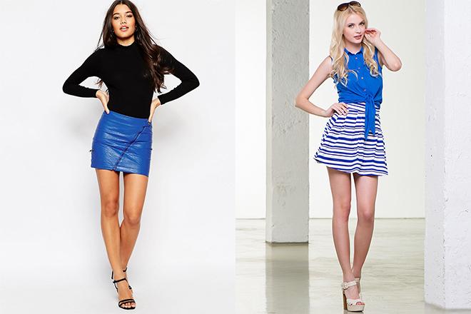 синие короткие юбки