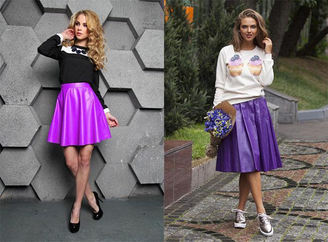 d6b57df7cdf Фиолетовая юбка  с чем носить