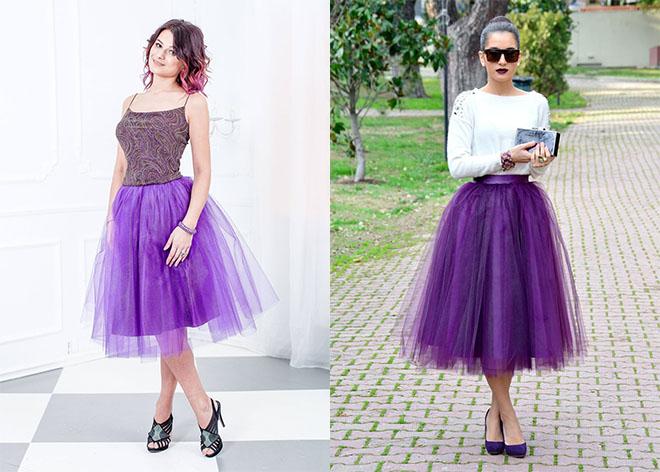 0cdb1e1ea26 Сиреневая фатиновая юбка выделит вас из толпы. Пышность добавит в образ  загадочность и шарм